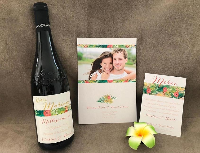 faire part de mariage tropical